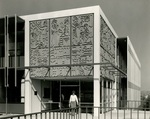 Student exiting Weter Memorial Library, circa 1963 by Seattle Pacific College